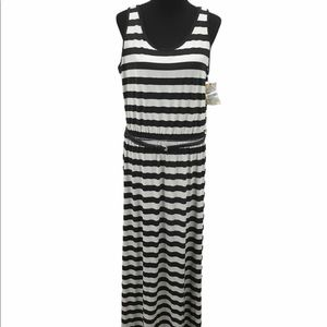 Fever Striped Maxi Dress, Gray, Black, Large